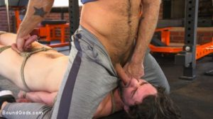 Bound Gods - Bound Gym Whore Gets the Cum Fucked Right out of His Uncut Cock