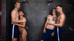 When Andy Taylor is accosted in the shower by some boneheaded bullies, his step-brother Dacotah Red is there to stick up for him. Dacotah assures Andy that it's okay to be 'different' and offers him his first kiss with a guy, followed quickly by his first fuck.