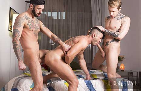 Ass masters Romeo Davis and Robert Royal has been invited by power bottom Andy Star for some hard bareback action. As soon as they arrives at his place, our cock lover got his mouth full and...