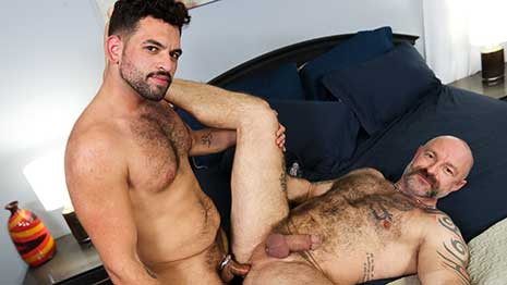 Justin Eros is super horny and loves to have cock in his mouth. Musclebear Montreal is equally as horny and ready to fuck whatever holes he can find.