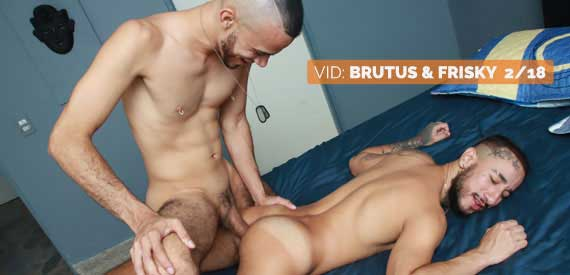 The video starts with Brutus and Frisky making out. Frisky services Brutus, and Brutus rims Frisky before fucking him in different positions.