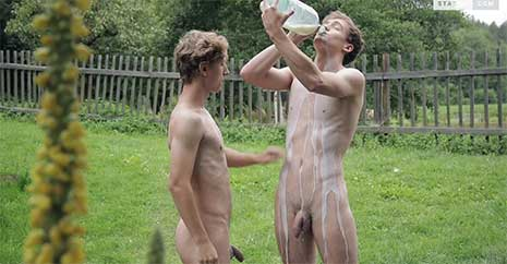 After Felix Jakes raises his concern about the milk may be going off, the boys taste it, and soon John is pouring it all over himself and Felix!