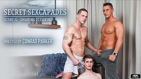 Uh oh! While Roman Todd is away, his husband Jax Thirio is playing with Trevor Harris. Roman comes home to find Jax fucking the tight twink and gives them some guff before joining in on the fun.