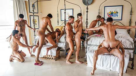 Watch the SECOND INSTALLMENT of this 11-man bareback orgy! There was a sexual energy in Puerto Vallarta during the February 2021 production that could not be tamed and why should it be?