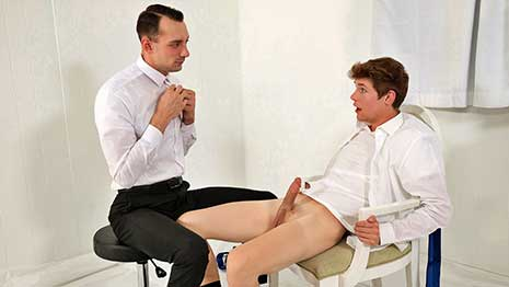 President Johnny B meets with missionary boy Jack Bailey for his worthiness review. After asking him a few questions he confesses that he's had impure thoughts and has masturbated several times.