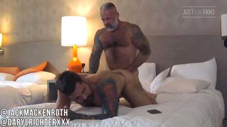 Jack Mackenroth with another muscle stud, but ends up being the bottom bitch! I like to go somewhere warm when winter arrives. I hate cold weather.