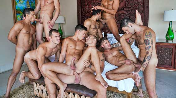 """Watch the first part (of two) of the """"Lucas Men In Heat"""" gay bareback orgy! After Isaac X's boyfriend, Tayler Tash, takes off for the day and won't be home until late, Isaac is immediately on his phone texting his buddies."""