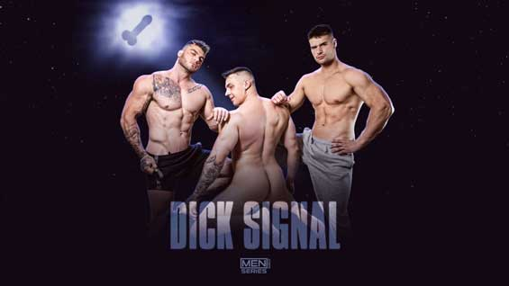 When his dildo just won't do, Ace Quinn rigs up a dick signal to light up the night and bring all the tops to his yard. He gets three sexy contenders, and picks hung stud Malik Delgaty to suck to his heart's content before getting pounded.
