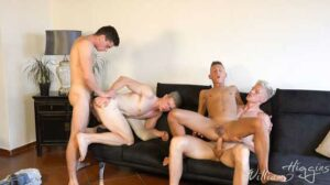 Wank Party #137 stars Frederyk Fendrych, Peto Mohac, Tomas Mracek and Bobby Orel. In this second part we rejoin the action as Tomas is on his knees sucking as much cock as he can.